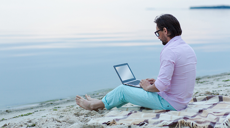 get paid to write from home or at the beach